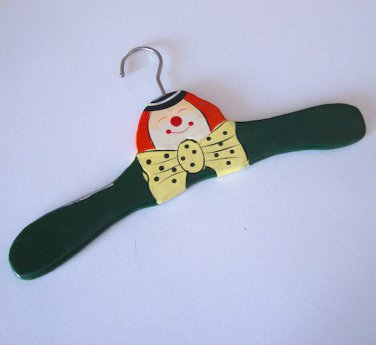 Hand Painted Wood Hanger Clown w/ Bow Tie