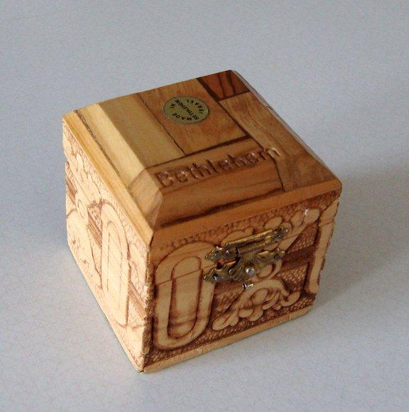 Vintage Bethlehem Carved Wooden Box w/ Hinged Lid - Israel
