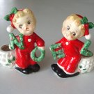 Vintage Japan Christmas Boy Girl NOEL Figurine Candlestick Candle Holder in Original Box