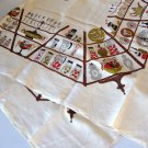 Vintage 60s Linen Falflax Tablecloth w Tag - No. 490L Pantry Shelves
