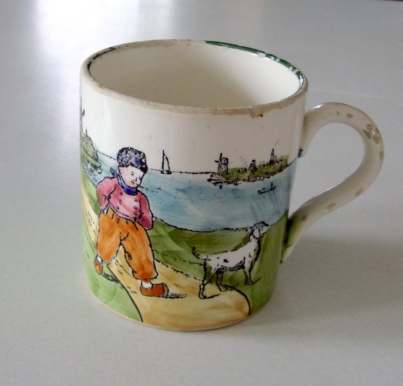 Vintage Zell Ceramics Cup - Dutch Boy And His Dog Overlooking Ocean Windmill Lighthouse Sailboat Cup