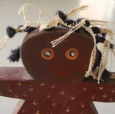Vintage 1984 Wooden Folk Art Black Americana Young Girl Shelf Sitter