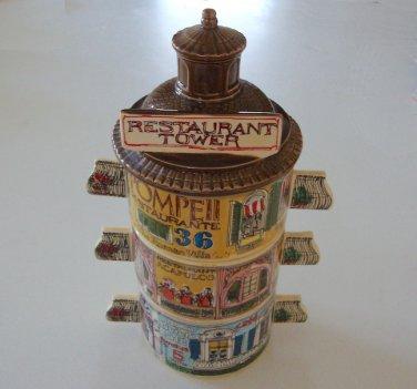 "Vintage 1980 Enesco ""Restaurant Tower"" Stacked Soup Bowls J. Downs.  MIJ"