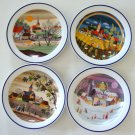 Vintage Gloria Fine Porcelain Bayreuth Bavaria Set of 4 Seasons Plates