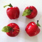 Vintage Red Apple Holiday Ornament - Set of 4