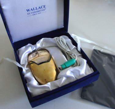 Vintage Wallace Silversmith Gold Computer Mouse Model No. MUO6P w/ Mouse Pad