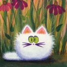 Crankycat Collection White Cat in Coneflowers Ceramic Tile