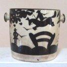 Vintage Japan Biscuit Jar Art Deco Silhouette Horse Jumping Theme