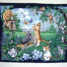 Vintage Springs Industries Fabric Panel Cats Kittens Spring Frolic Wisteria