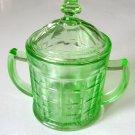 Vintage Hazel Atlas Green Sugar Bowl with Lid, Colonial Block Optic