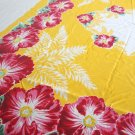 Vintage Red Hibicus Yellow 60 x 68 Tablecloth