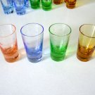 Vintage Wales Assorted Colored Etched Glass Shot Glasses Made in Japan
