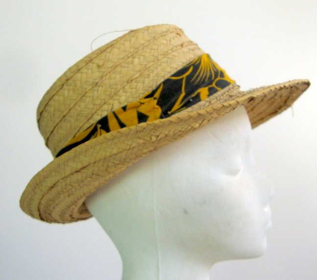Vintage 1980s Florida Straw Hat with Tropical Plants Headband