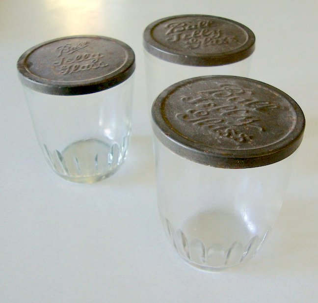 Antique Ball Jelly Glass with embossed metal lid - Set of 3