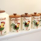 Vintage Hand Painted California Pottery Canisters with Wood Lids
