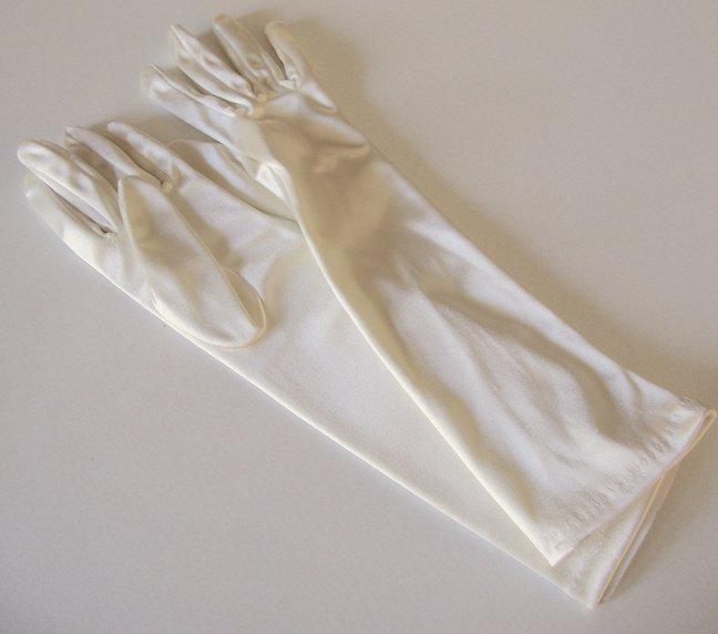 NWT Vintage Off White / Ecru Satin Gloves - Taiwan