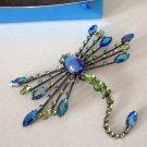 Vintage 2005 Avon Large Dragonfly Blue Green Rhinestone Brooch