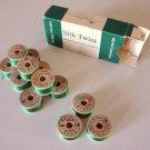 NOS - Vintage Belding Corticelli Pure Silk Twist Thread - Box of 12 Kelly Green