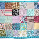 Vintage 40s-50s Pieced Quilt / Lap Throw w/ Barkcloth Panel