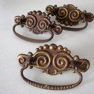 Antique Victorian Stamped Brass Drawer Pull - Set of 3