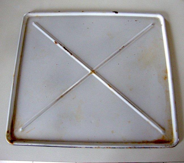 Antique White Enamelware Rectangular Tray Refrigerator / Oven??