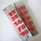 NOS IKEA FLAX Red Plastic Numbers - 0 thru 9 - Set of 2 packs