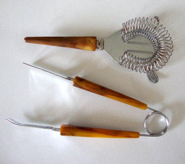 Vintage Hostess Bar Tools - Bakelite - Strainer & Ice Tongs plus Tomato Knife - Mid-Century