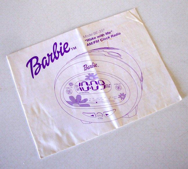 "Original Barbie ""Wake with Me"" AMFM Clock Radio BE 337 Instruction Manual"