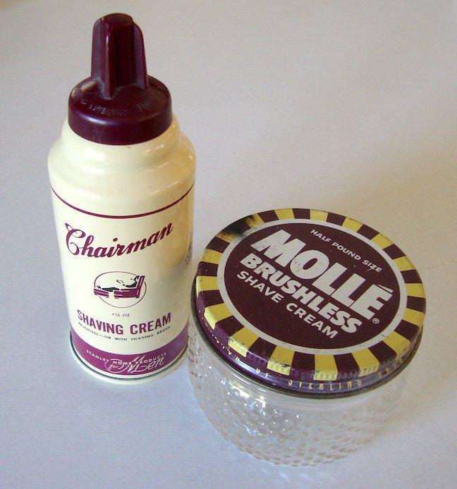 Vintage 1950s Stanley Stanhome Chairman Shaving Cream & Molle Shave Cream Jar