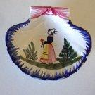 Vintage HB Quimper Breton Woman Clam Shell Dish