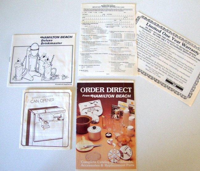 Original Hamilton Beach Products Booklets and Catalog