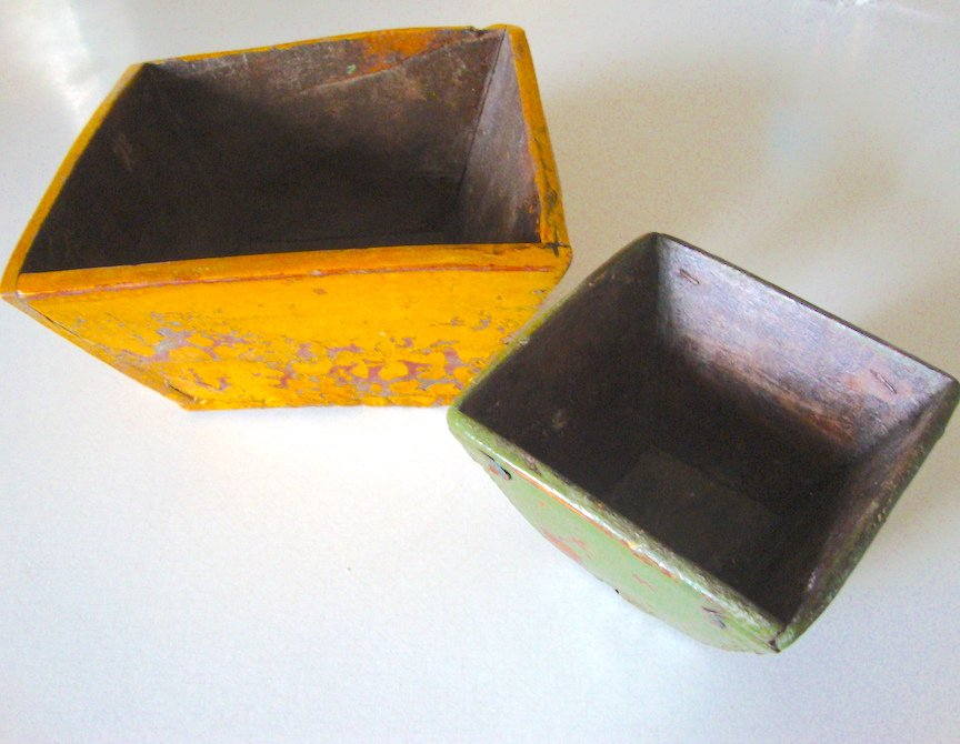 Wooden Rice Grain Measure Basket / bucket / wood trapezoid basket