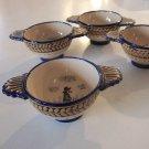 Vintage HB Quimper French Porringer Lug Soup Bowls - Bols a Oreilles / Two Handles - Set of 4