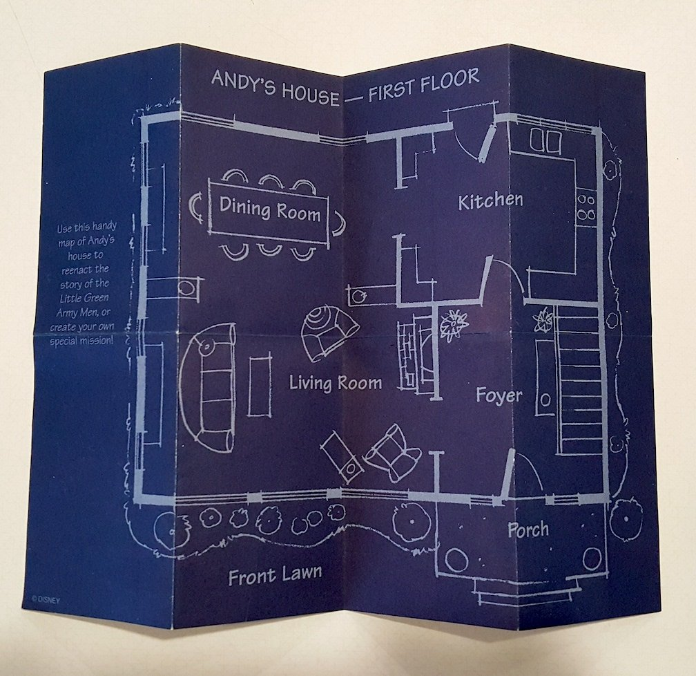 Blueprint sheet of Andy's house from Disney's Toy Story Little Green Army Men
