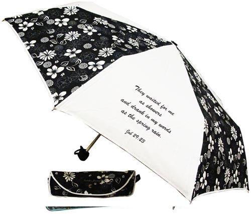"42"" Job 29:23 Black and White Floral Umbrella"