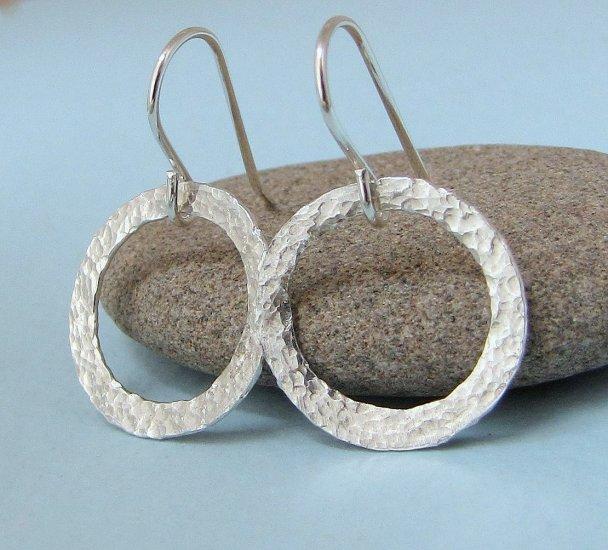 Shine On - Hammered Fine Silver Hoop Eternity Circle Earrings
