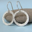 Shine On - Hammered Fine Silver Hoop Eternity Circle Earrings