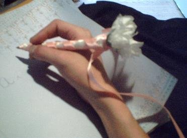 Flower pens with Pink ribbon - Blue Ink - 1 dollar each
