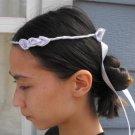 Lavender Satin Ribbon Rose Head Wreath - Adjustable