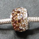 Brown Crystal Swarovski bead sterling silver
