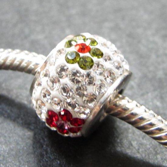 Multi Flower Crystal Swarovski bead sterling silver