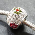 Multi Flower Crystal Swarovski bead sterling silver
