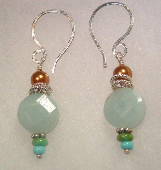 Memories Earrings: Green Amazonite and Swarovski pearls, sterling silver