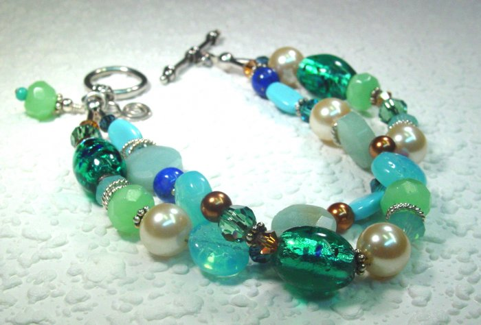 Memories Bracelet: Green/blue Amazonite, Swarovski Pearls and Crystals, Czech glass, sterling silver