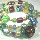 Buttons Wrist Wrap Bracelet: Purple, green, blue, yellow Czech glass, sterling silver
