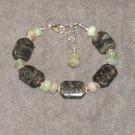 Aspen Bracelet: Green kambaba jasper, aquamarine, crystal and sterling silver