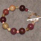Jade Garden Bracelet: Olive and pink jade, pink coral, sterling silver