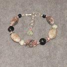 Tea Time Bracelet: Pink and green jasper, aquamarine, coral, black onyx and sterling silver