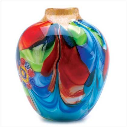 Floral Fantasia Art Glass Vase