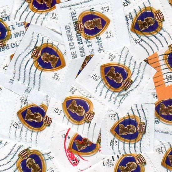 100 USA Used Purple Heart Postage Stamps on paper bundle bundleware